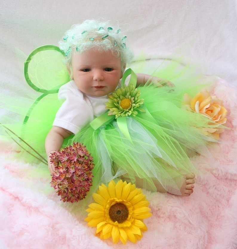 Infant Tutu Toddler Tutu Tinkerbell Tutu Baby Tutu Baby Fairy Costume Tutu Set Pixie Tutu w Wings Green Tutu Pixie Set Birthday Tutu