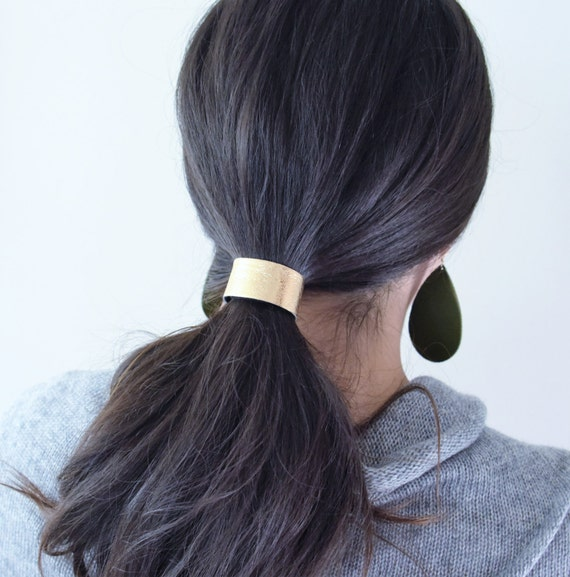 NEW Leather Hair Cuff Ponytail Holder in Gold size 4 3 4  1256a1aac4e