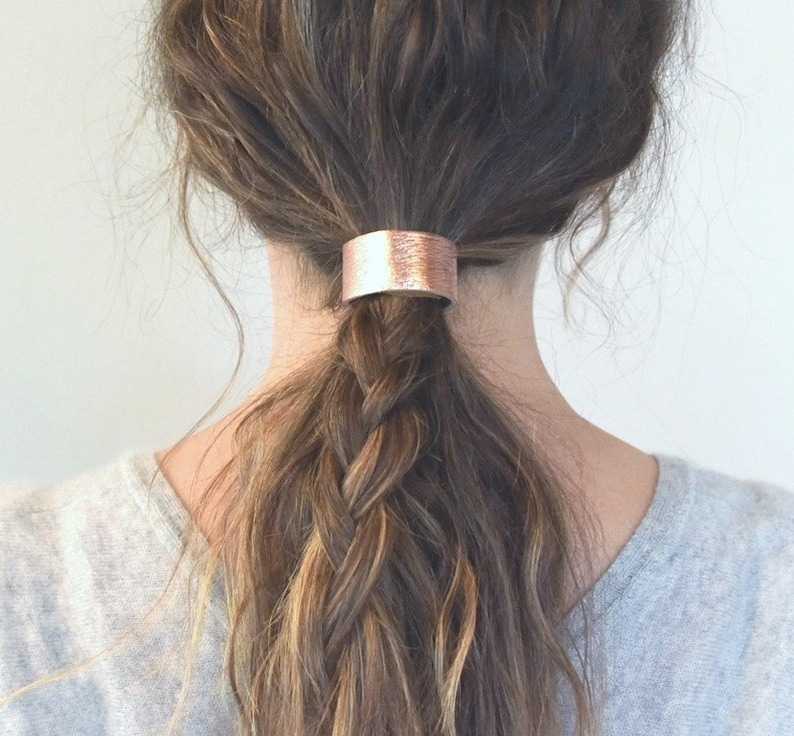 Leather Hair Cuff Ponytail Holder in Rose Gold Copper size  16f279ec604