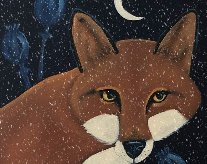 Fox in the snow original painting