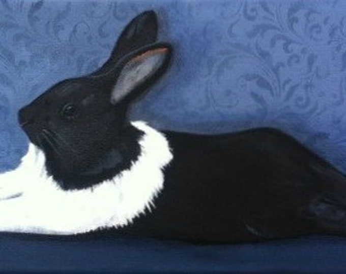 lapin en bleu rabbit in blue blank greeting card