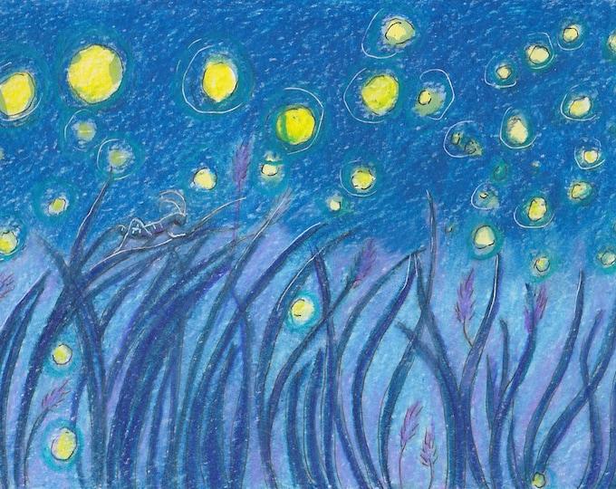 Cricket and Fireflies original art