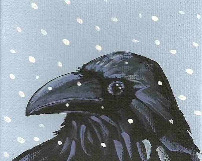 Snow Crow winter holiday Christmas card