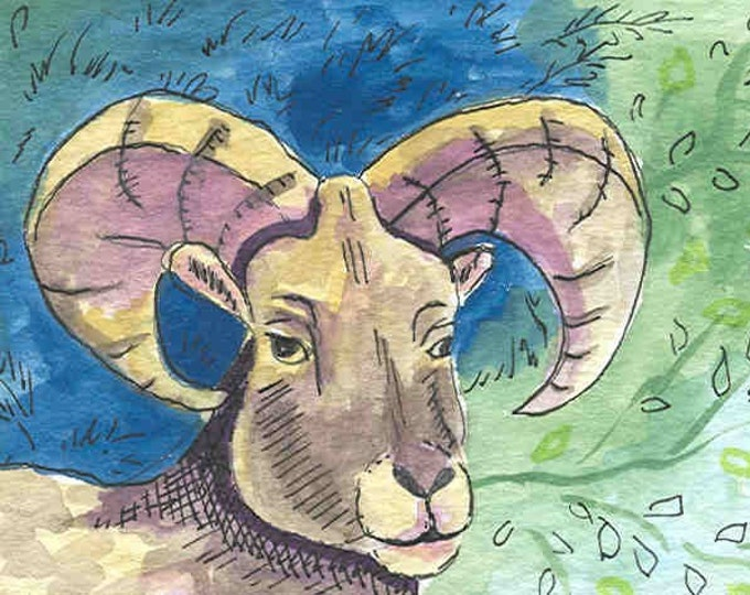 Aries Ram greeting card