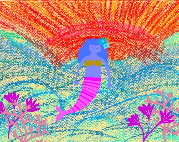 Kayla's cards Mermaid with purple hair greeting card blank