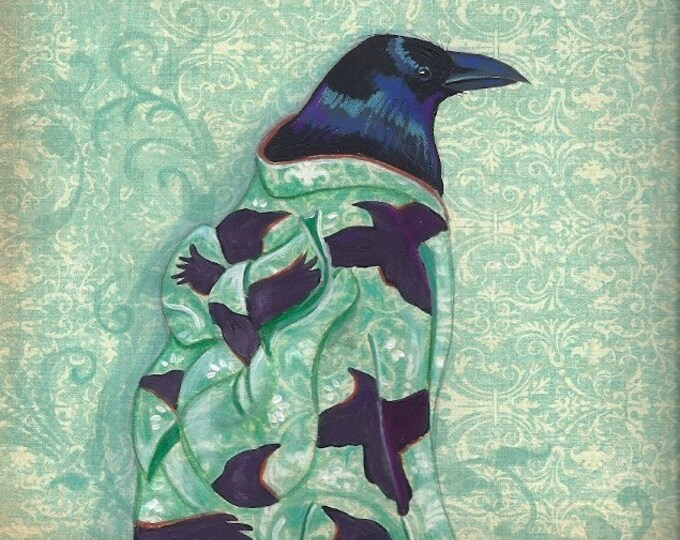 Corvid Kimono greeting card raven crow
