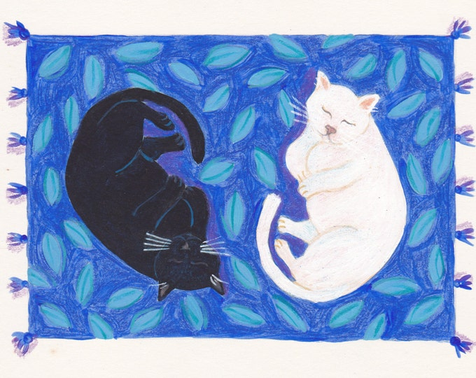 Yin Yang cats greeting card blank