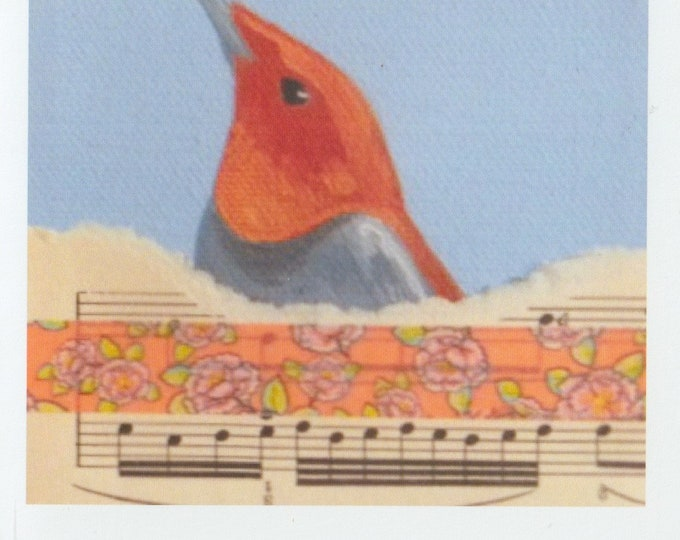 Red Songbird blank greeting card