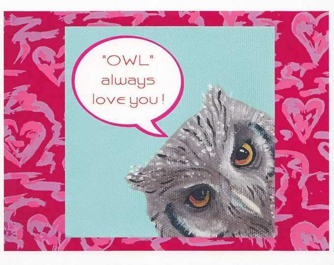 owl always love you notecard Valentine