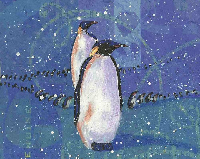 Original mixed media March Of The Penguins