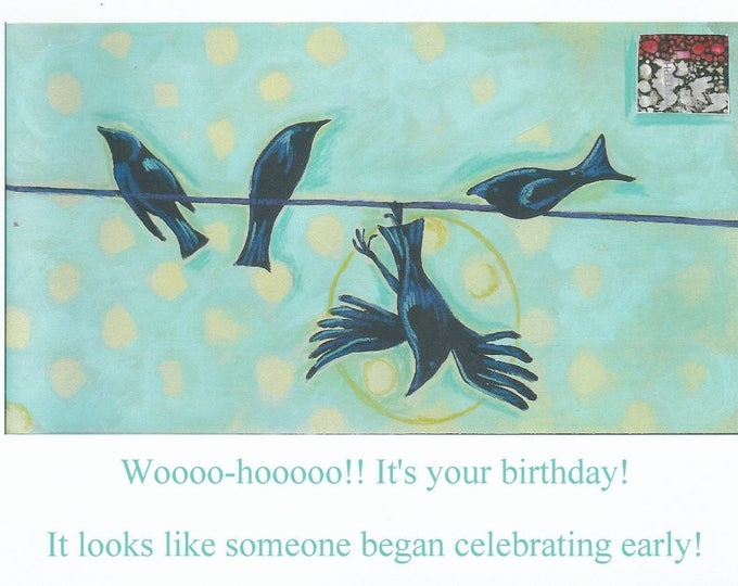 Clumsy crow birthday card blank inside