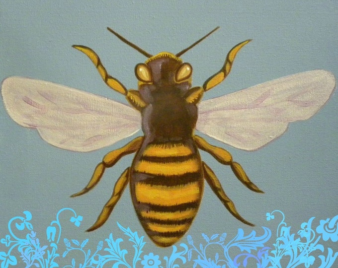Queen Bee with botanical scrolls blank greeting card