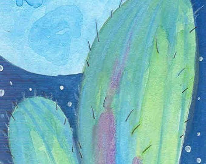 cactus moon greeting card blank