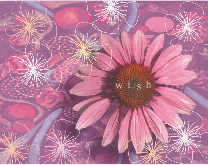 Flower Power Wish blank greeting card