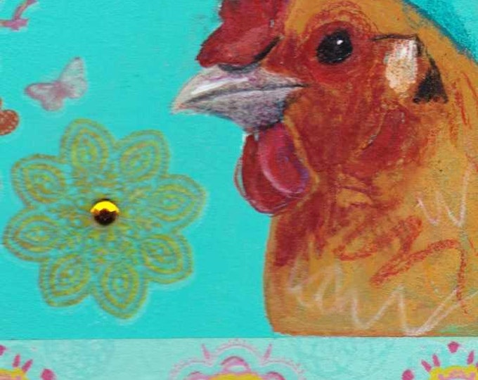Retro Chicken blank greeting card