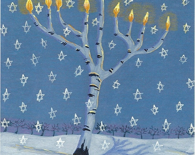Tree of Light Menorah notecard Hannukah card best seller