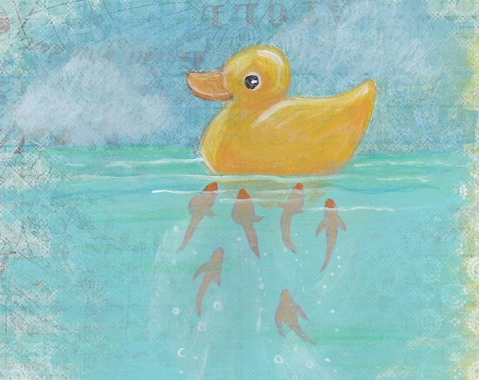 Curious Fish and The Rubber Ducky greeting card