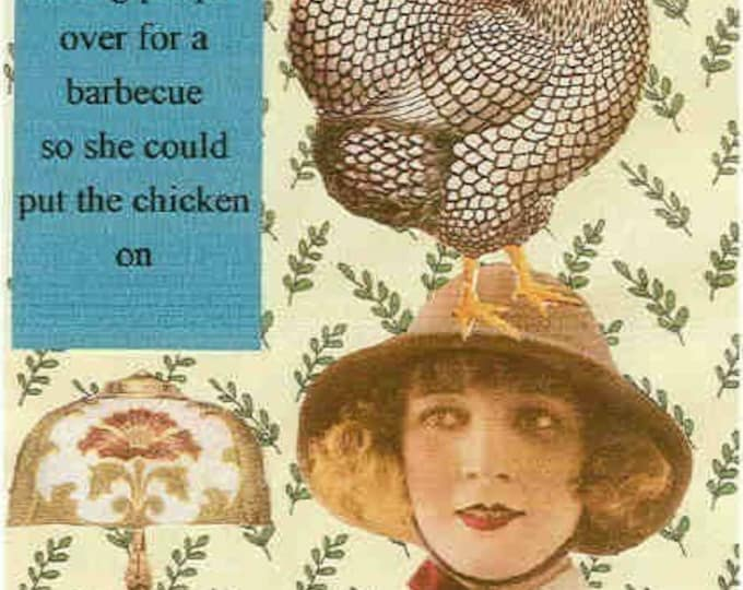 Put the chicken on collage greeting card
