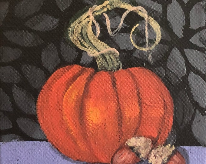 Mini Pumpkin and Acorns original painting