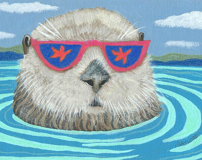 Otterly Cool Dude blank note card greeting card