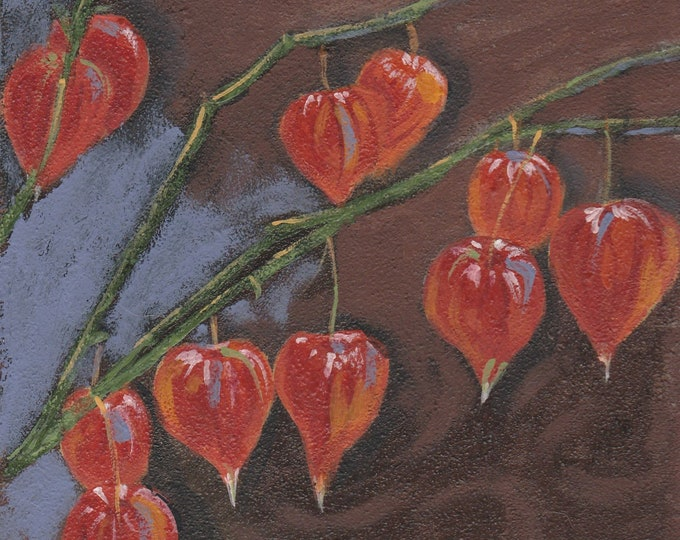 Small original painting of Autumn Chinese Lanterns