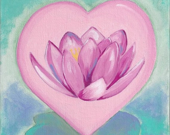 Lotus Flower Heart notecard