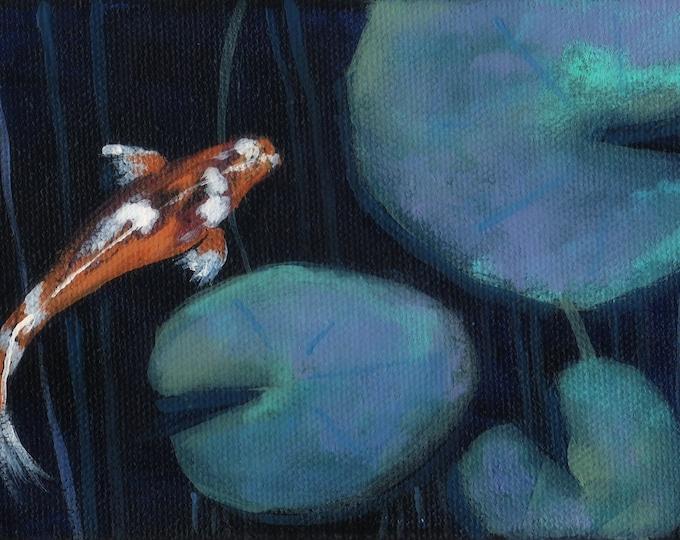 Night Pond Koi Fish blank greeting card