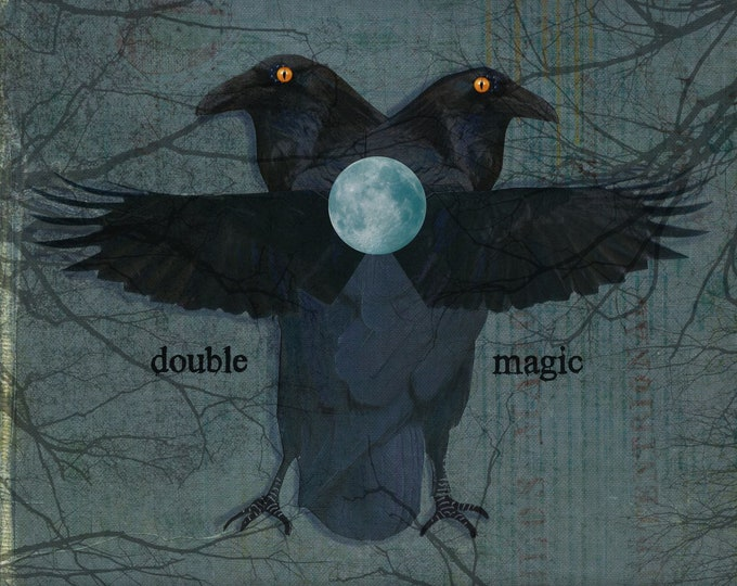Double magic gothic card blank two ravens