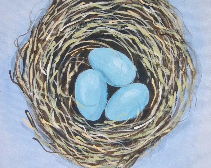 Nest with blue eggs notecard