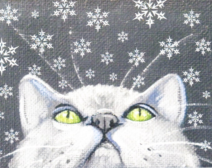 Snowflake kitty winter holiday card