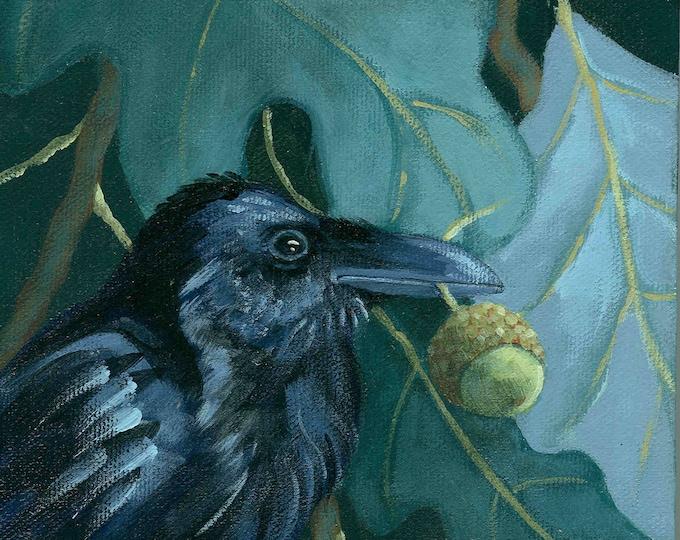 raven and acorn print