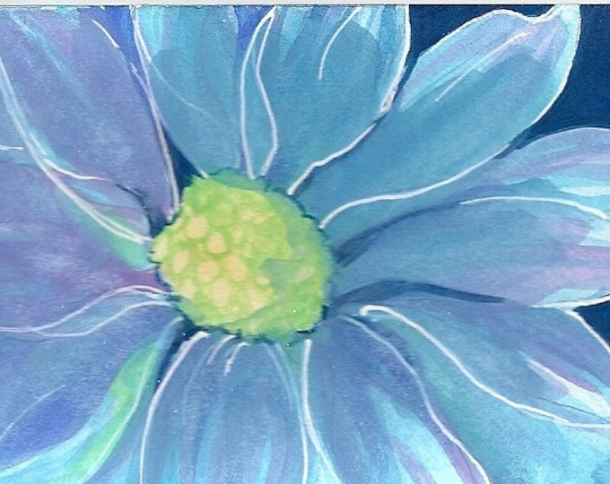 Blue Gerbera Daisy blank greeting card