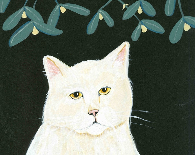Mistletoe Cat blank holiday card