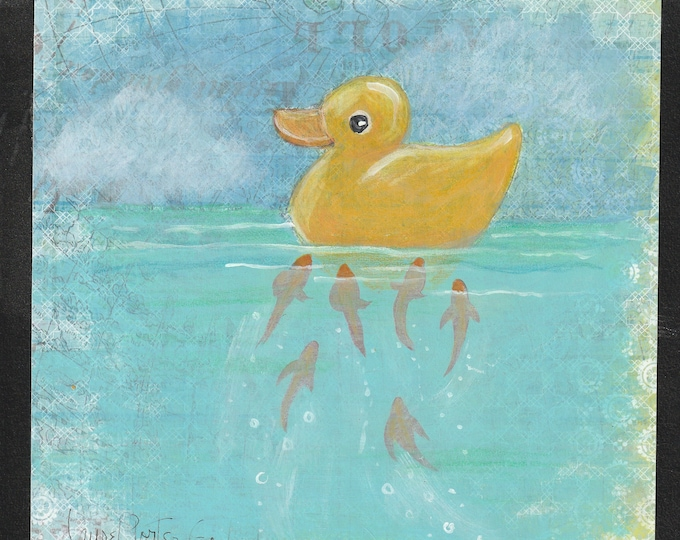 Original painting Rubber Ducky and The Curious Fish children's room art