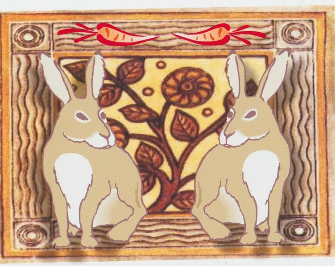 Bunny Twins blank greeting card Easter
