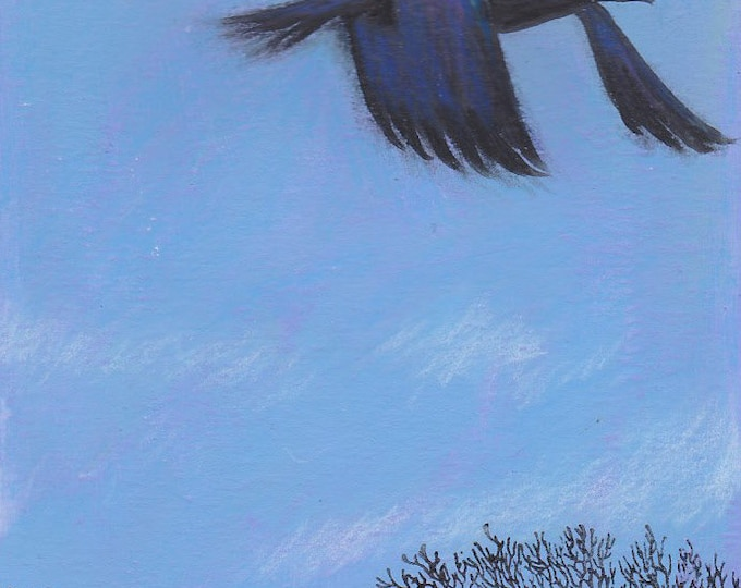Windswept  raven greeting card