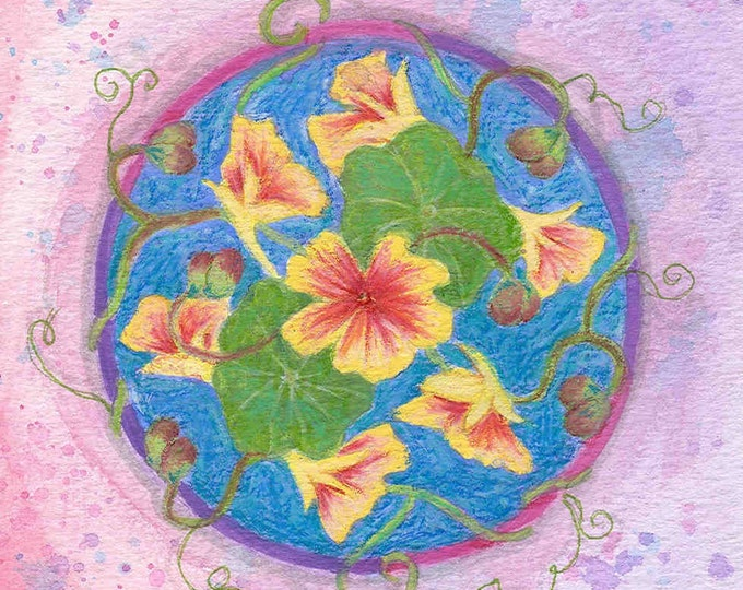 nasturtium mandala large greeting card