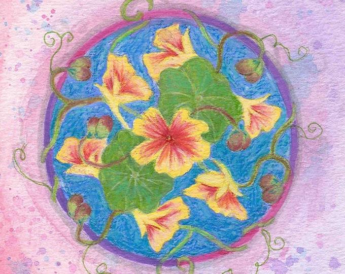 nasturtium mandala large greeting card