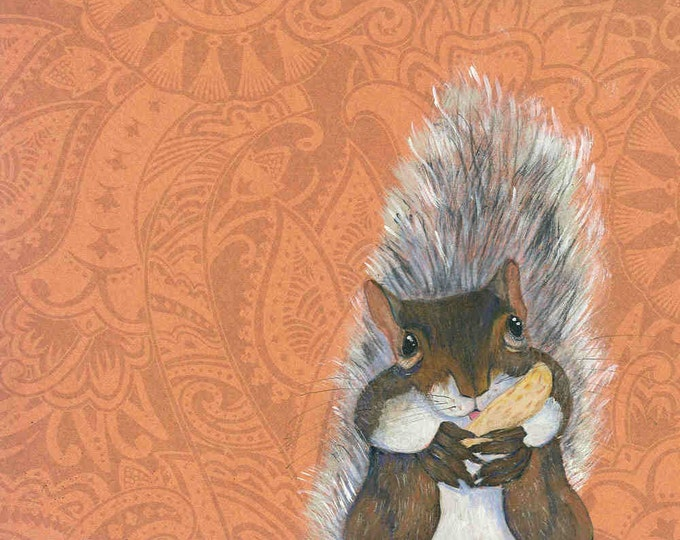 Peanut Packing Squirrel art print