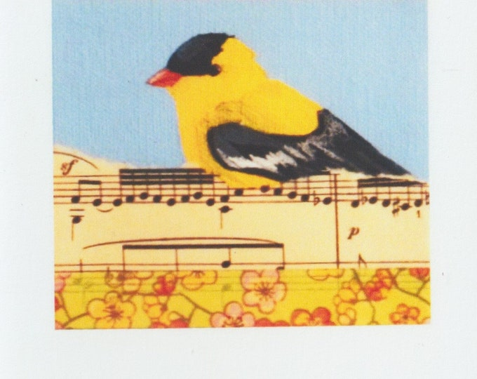 Yellow Songbird Goldfinch blank greeting card