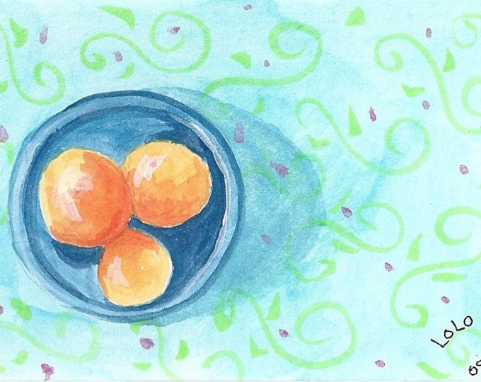 Oranges and blue bowl blank greeting card