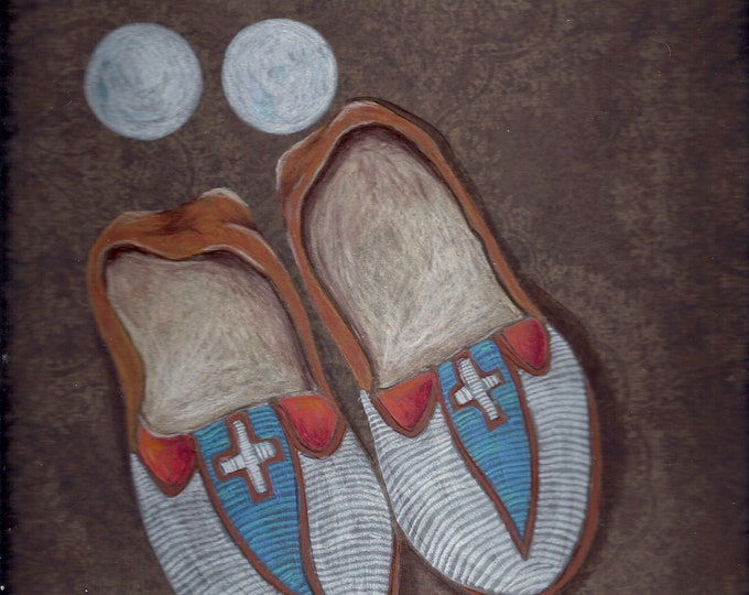 Two Moons original mixed media painting native American moccasins