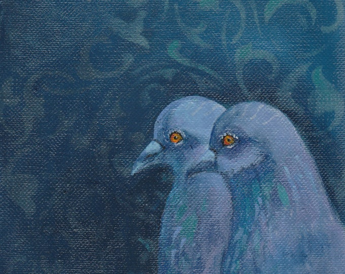Soul Mates pigeon couple blank greeting card