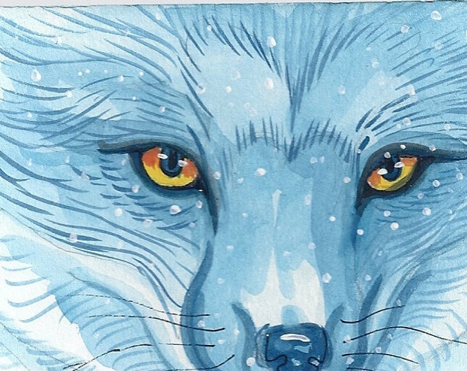 Winter Fox blank christmas card winter solstice