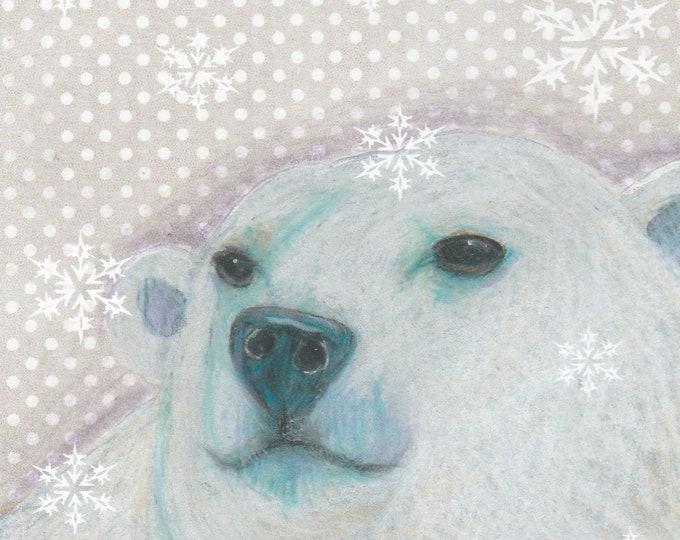 Dottie the polar bear blank holiday card