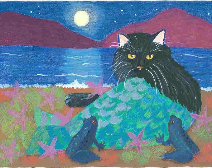 Black Cat Mermaid greeting card