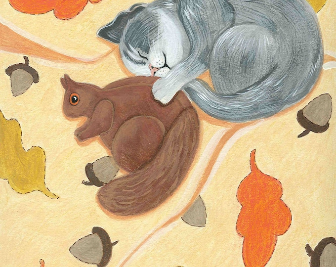 Autumn Kitty Dreams greeting card