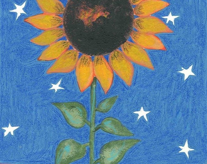 Midnight Sunflower greeting card blank