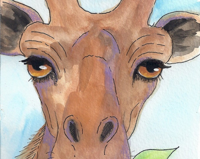 Sweet Giraffe greeting card blank