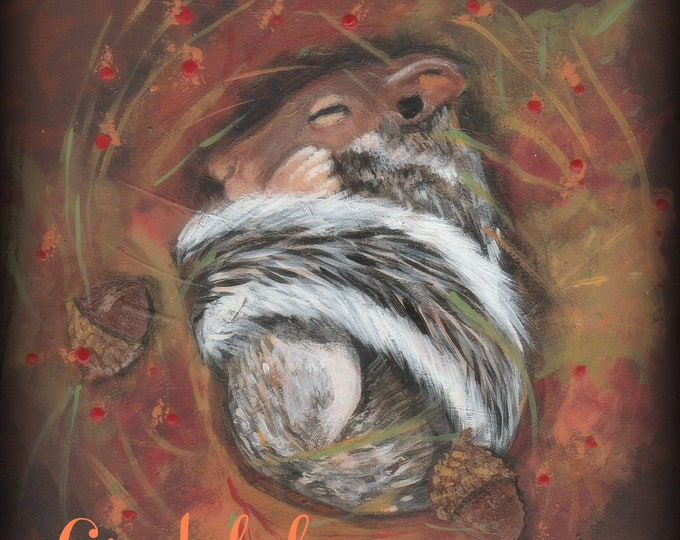 Grateful sleeping squirrel Thanksgiving card blank